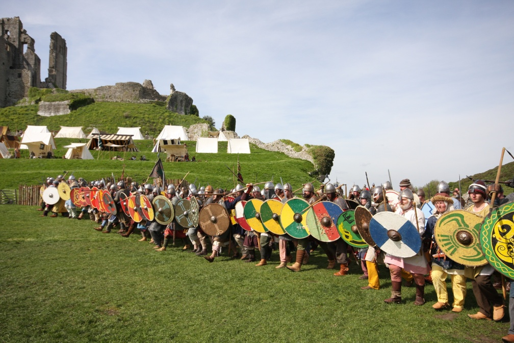 Viking battle-line, with tents and castle behind